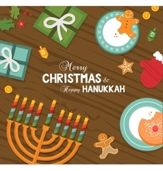 Merry christmas and happy hanukkah celebration vector
