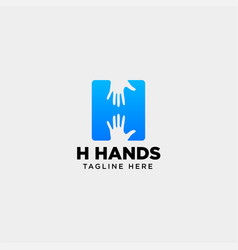 Minimal h letter initial hand logo template icon vector