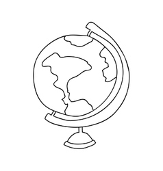 Monochrome contour with map of the world vector