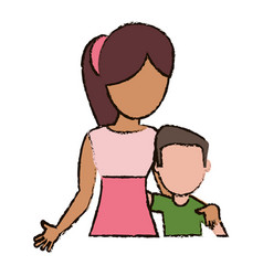 Mother hugging son together vector