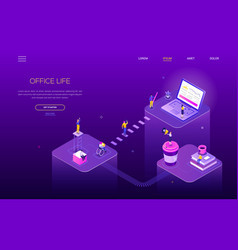 office life - colorful isometric web banner vector image