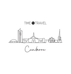 one continuous line drawing canberra city vector image