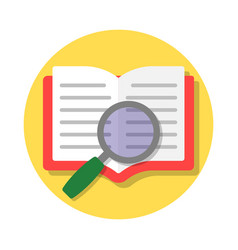 open book and magnifying glass vector image