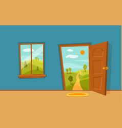 Open door and window cartoon colorful vector