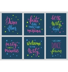 Party signs card lettering quote typography set vector image vector image
