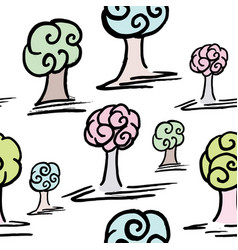 pattern with set of cute trees vector image