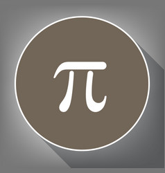 Pi greek letter sign white icon on brown vector