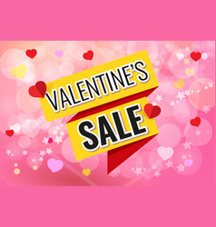 pink poster with yellow ribbon and text valentines vector image