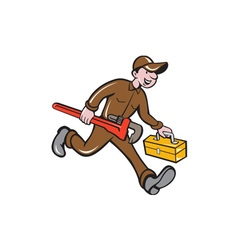 Plumber Carrying Monkey Wrench Toolbox Cartoon vector