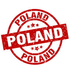 Poland red round grunge stamp vector