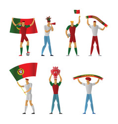 Portugal football fans cheerful soccer vector