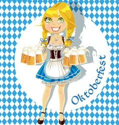 Pretty Blond with a glass of beer vector image