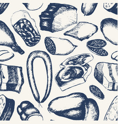 processed meat - hand drawn seamless pattern vector image