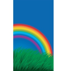 rainbow in field vector image