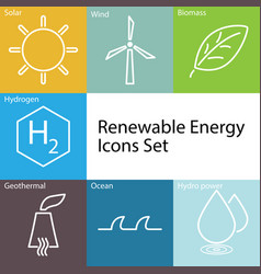Renewable energy icons set vector