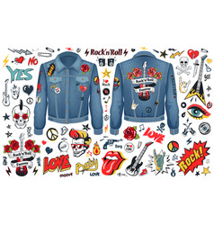 Rock and roll theme icons set vector