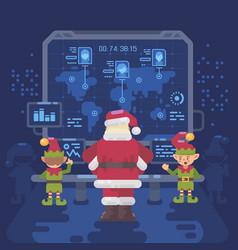 Santa claus and his elves at santas control room vector