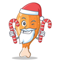 Santa with candy fried chicken character cartoon vector