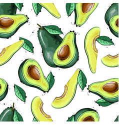 Seamless pattern with avocado fruit vector