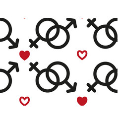 seamless pattern with male and female sex icons vector image