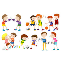 set of boys doing activites vector image