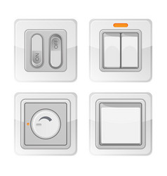 Set of electric power switches with on off buttons vector