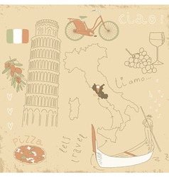 Set of Italy symbols vector
