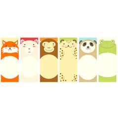 set of vertical banners with cute animals vector image