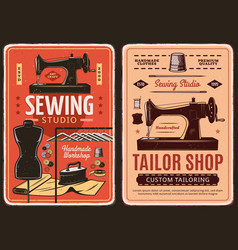 sewing studio and tailor shop retro posters vector image