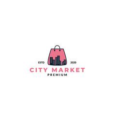 Shopping bag and silhouette city logo design vector