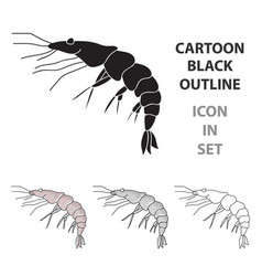 shrimp icon in cartoon style isolated on white vector image