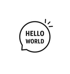 speech bubble with hello world text vector image