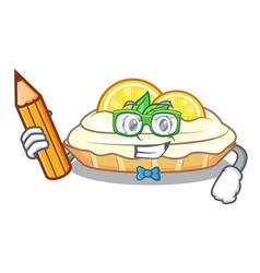 Student cartoon lemon cake with lemon slice vector