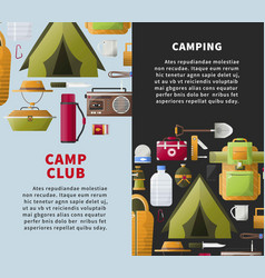 Summer camp club posters for forest camping vector