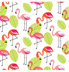 Summer flamingo and leaves seamless pattern vector