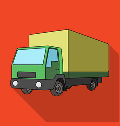 Truck with awningcar single icon in flat style vector