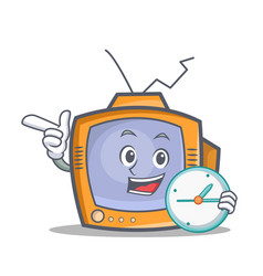 tv character cartoon object with clock vector image