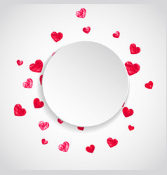 valentine paper frame with pink glitter hearts vector image