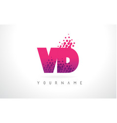 Vd v d letter logo with pink purple color and vector