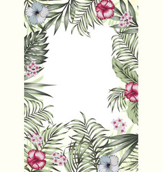 vertical poster jungle frame banner flowers leaves vector image