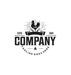 Vintage and elegant logo barbecue restaurant vector