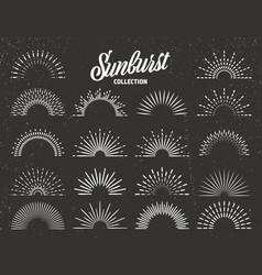 vintage grunge sunburst collection bursting sun vector image