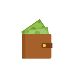wallet and banknotes money flat image style vector image