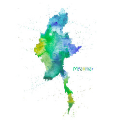 watercolor map myanmar stylized image with vector image