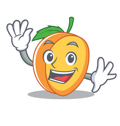 waving apricot character cartoon style vector image