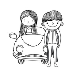 Wedding couple and car cute cartoon in black and vector