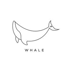 whale line art logo designs mono line outline vector image