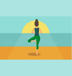 Woman acts yoga silhouetted against the sunrise vector