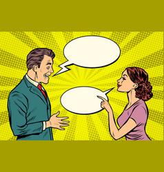 Woman and man talking vector