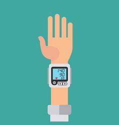 Wrist cuff sphygmomanometer digital device for vector
